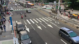 Double pedestrian crossing outside National Taiwan University Taipei Taiwan Footage