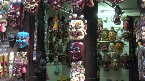 various nepalese masks in Kathmandu shop, Nepal Footage