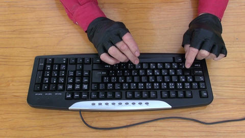 hacker hands working with computer keyboard ビデオ