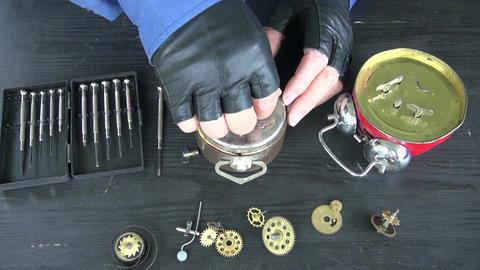 watchmaker repair old clock 영상물