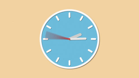 Animated clock runs. Flat style HD Animation