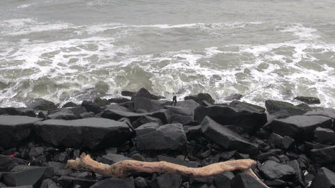 ocean waves and black stone granite coast Live Action