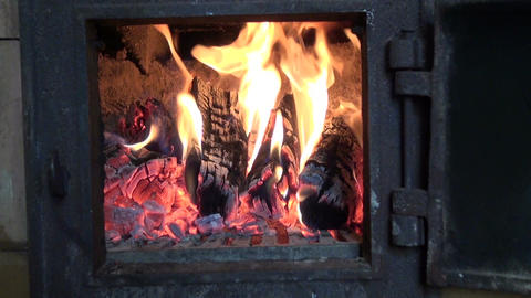 winter fire in old used furnace Footage