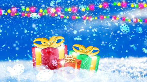 HD Loopable Background with nice snowflakes and xmas gift boxes Animation