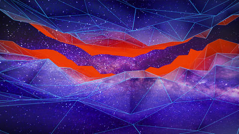 Polygonal landscapes in space background Animation