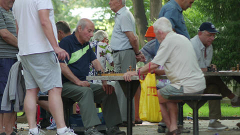 Chess players in the city park - regural competition with senior elderly Footage