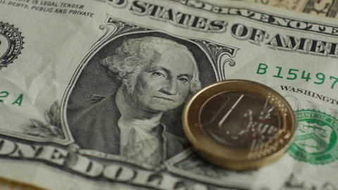 Euro coin and us dollar banknote background. Finance concept Footage