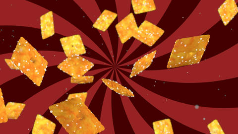 HD Loopable Background with nice abstract flying cookies Animation
