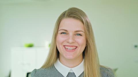Portrait of Successful Smiling Businesswoman Footage
