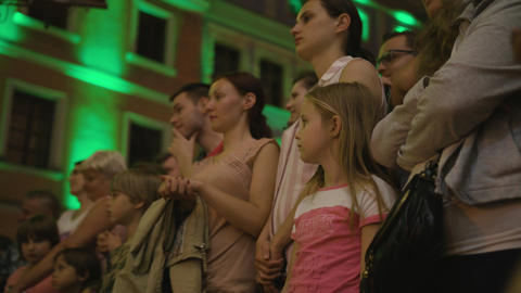 Crowd Watches Sword Swallower Show in Lublin Footage