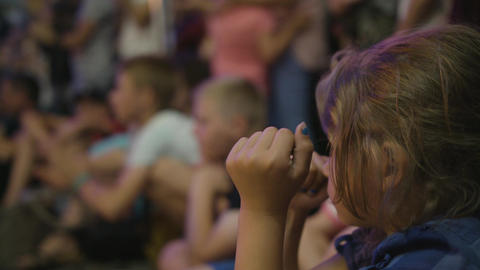 Little Girl Watches Sword Swallower Show in Lublin Footage