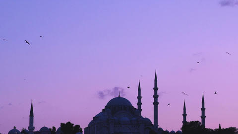 Slowmotion view of Suleymaniye mosque with seagulls flying around on sunset from Footage