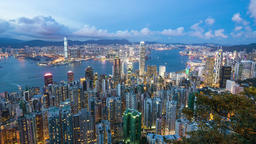 Business City. Hong Kong. Timelapse video from day to nigh Footage