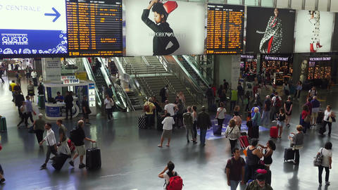 Rome, Italy passengers inside Termini railway station Live Action