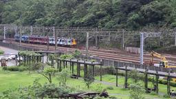 Regonal train of Taiwan Railway Authority arriving at Houtong northern Taiwan 影片素材