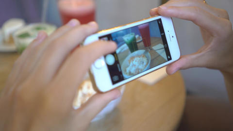 4K Girl In Cafe Take Photo Of Her Dessert Shape Flat Lines Footage