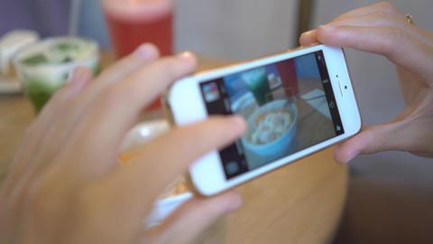 4K Girl In Cafe Take Photo Of Her Dessert Shape Flat Lines, Live Action