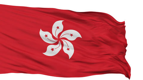 Isolated Waving National Flag of Hong Kong Animation