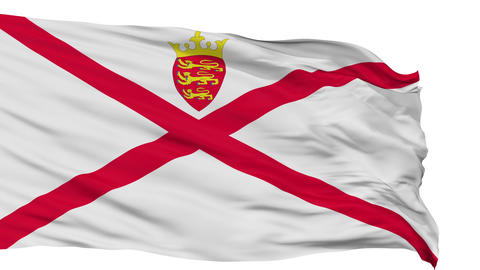 Isolated Waving National Flag of Jersey Animation
