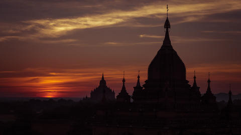 Time lapse of amazing sunrise over Bagan Temples. Myanmar Footage