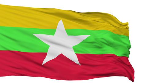 Isolated Waving National Flag of Myanmar Animation