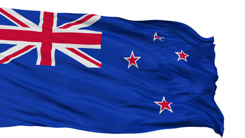 Isolated Waving National Flag of New Zealand Animation
