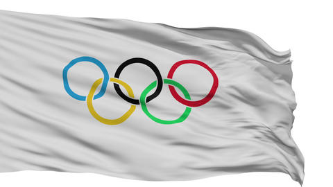 Isolated Waving Flag of Olympic Games Animation
