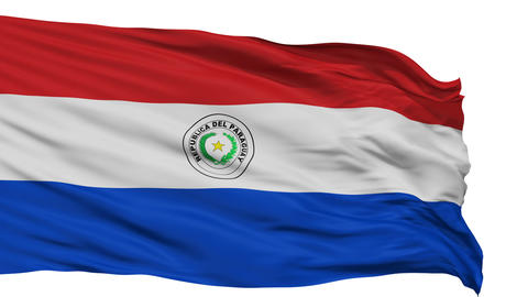 Isolated Waving National Flag of Paraguay Animation
