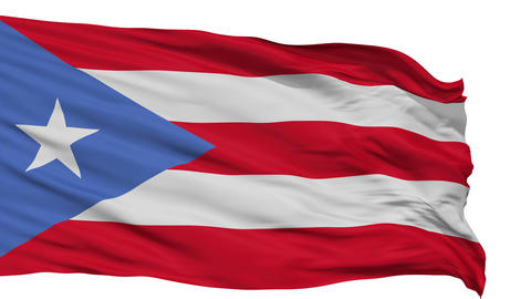 Isolated Waving National Flag of Puerto Rico Animation