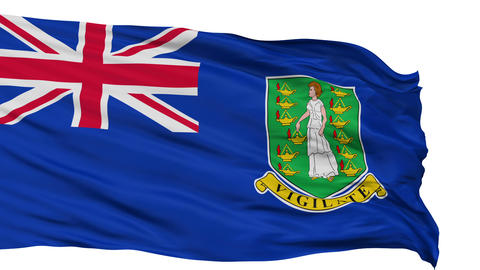 Isolated Waving National Flag of British Virgin Islands Animation