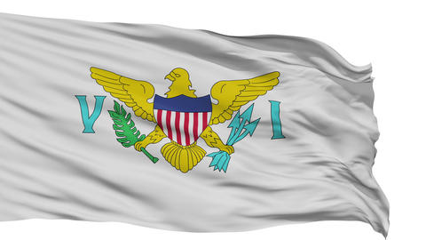 Isolated Waving National Flag of United States Virgin Islands Animation