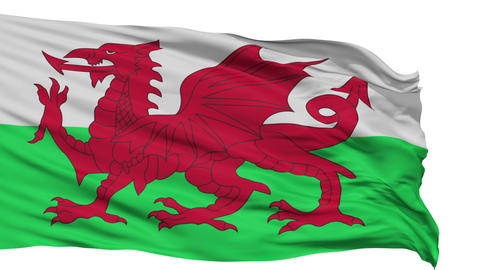 Isolated Waving National Flag of Wales Animation