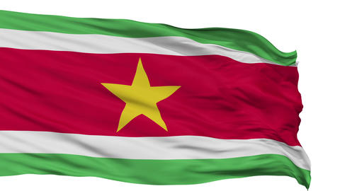 Isolated Waving National Flag of Suriname Animation