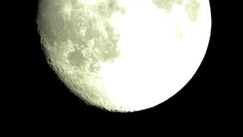 Full moon seen through a telescope which increases more 00 Footage