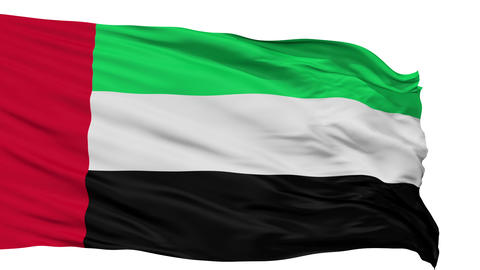Isolated Waving National Flag of United Arab Emirates Animation