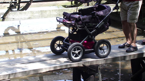 Group Of Adult, Men And Women, Pushing A Stroller With A Small Child Pass Over A stock footage
