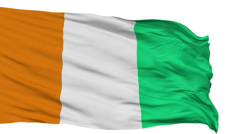 Isolated Waving National Flag of Cote dIvoire Animation