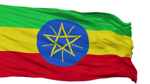 Isolated Waving National Flag of Ethiopia Animation