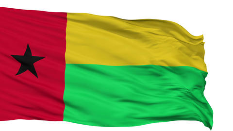 Isolated Waving National Flag of Guinea Bissau Animation
