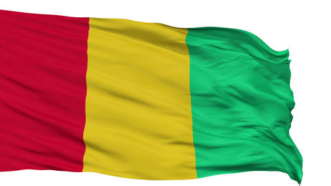 Isolated Waving National Flag of Guinea Animation