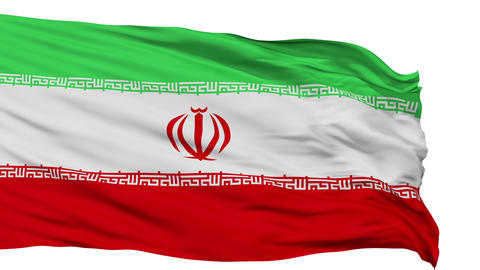 Isolated Waving National Flag of Iran Animation