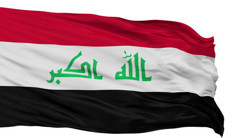 Isolated Waving National Flag of Iraq Animation