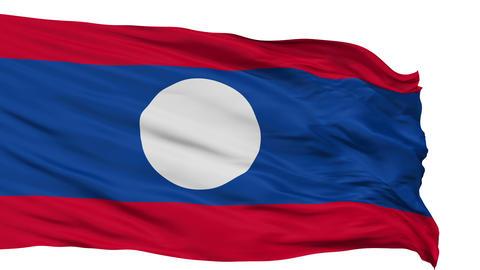 Isolated Waving National Flag of Laos Animation