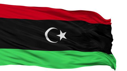 Isolated Waving National Flag of Libya Animation