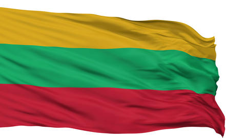 Isolated Waving National Flag of Lithuania Animation