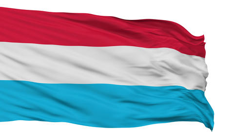 Isolated Waving National Flag of Luxembourg Animation