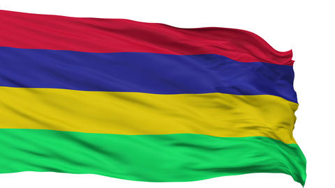 Isolated Waving National Flag of Mauritius Animation