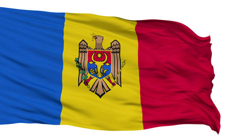 Isolated Waving National Flag of Moldova Animation