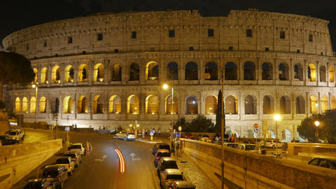 Colosseum at night, rome, italy, timelapse, zoom in, 4k Footage