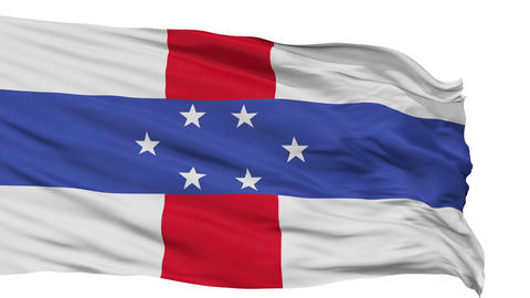 Isolated Waving National Flag of Netherlands Antilles Animation